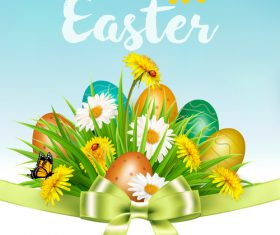 Easter background with colorful eggs and green ribbon vector