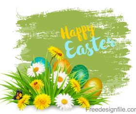 Easter background with colorful eggs and spring flowers vector