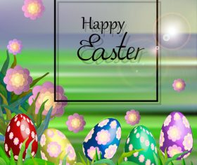 Easter background with text frame vector 01