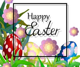 Easter background with text frame vector 02