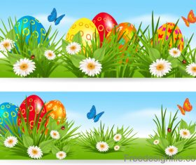 Easter banners with multicolored eggs in a grass vector