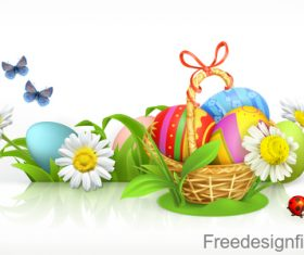 Easter basket and eggs Spring flowers 3d vector banner