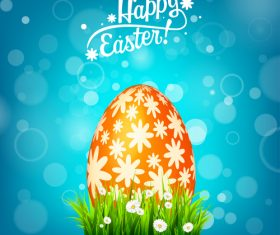 Easter blue background with egg and spring flower vector