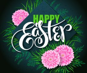 Easter card dark green design vector