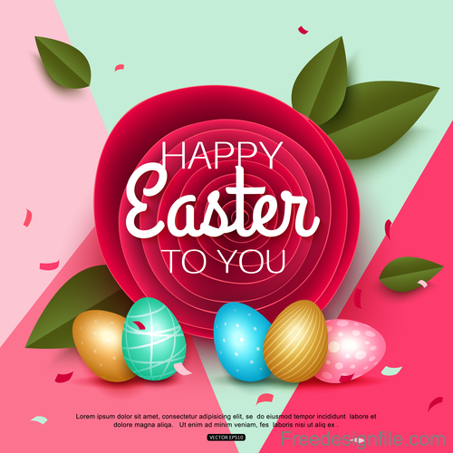 Easter card with paper flower design vector