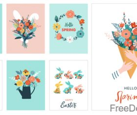 Easter decor card vector material set