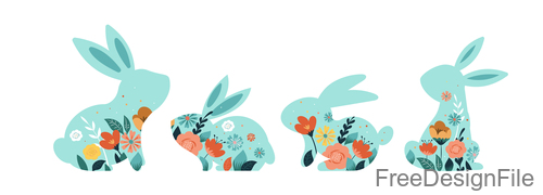 Easter decor rabbit illustration vector 01
