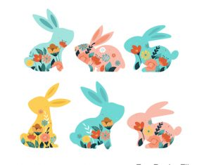 Easter decor rabbit illustration vector 02