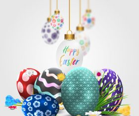Easter decorative with floral egg design vector