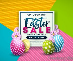 Easter discount sale design with colored egg vector