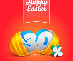 Easter discount sale with red background vector