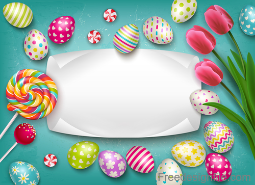 Easter egg and flower with blank paper vector 01