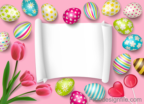Easter egg and flower with blank paper vector 02