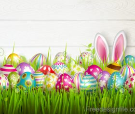 Easter egg and green grass with wooden wall vector