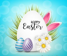 Easter egg and white flower on grass vector 01