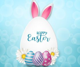 Easter egg and white flower on grass vector 02
