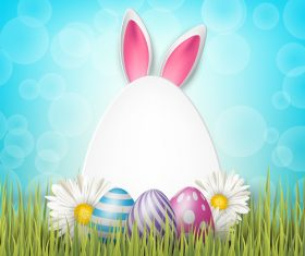 Easter egg and white flower on grass vector 03