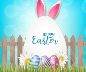 Easter egg and white flower on grass vector 04