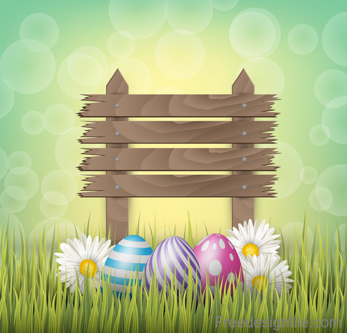 Easter egg and wood board sign vector design 01
