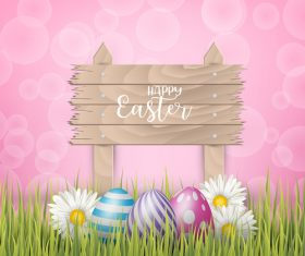 Easter egg and wood board sign vector design 02
