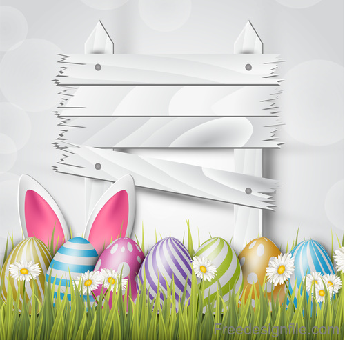 Easter egg and wood board sign vector design 03