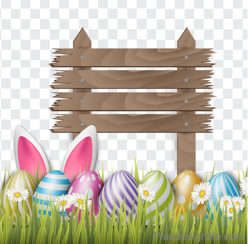 Easter egg and wood board sign vector design 04