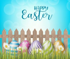 Easter egg and wood fence with grass vector