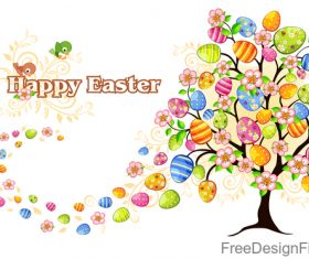 Easter egg tree with flower vector