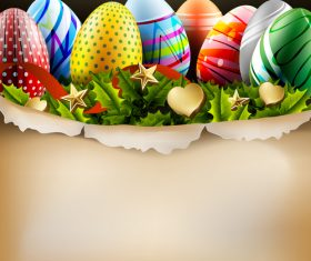 Easter egg with golden decor design vector 02