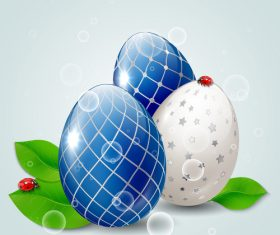 Easter egg with green leaves and ladybug vector 01