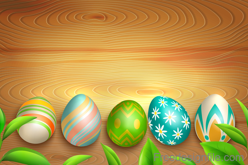 Easter egg with green leaves and wood background vector