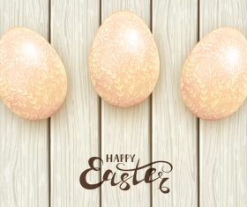 Easter eggs with floral pattern on white wooden background vector