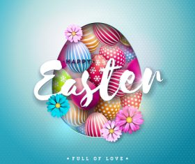 Easter festival card template vectors 02