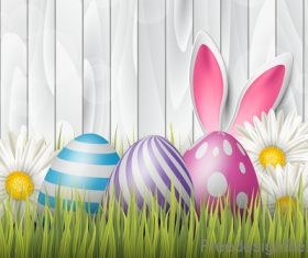 Easter festival design with wood wall vector