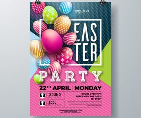 Easter festival party flyer template vector 01
