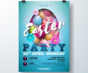 Easter festival party flyer template vector 02