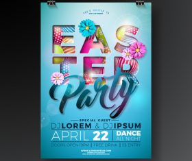 Easter festival party flyer template vector 03