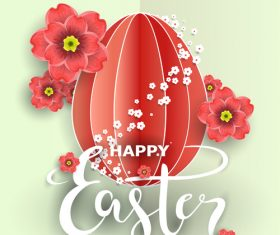Easter flower greeting card vector template 01