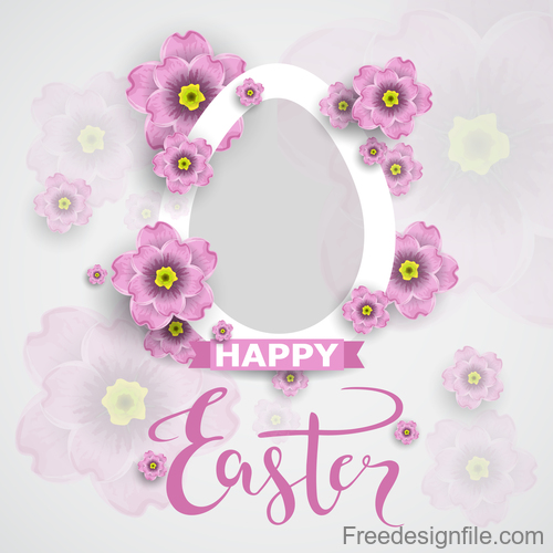 Easter flower greeting card vector template 02