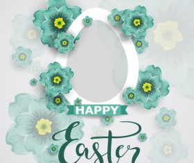 Easter flower greeting card vector template 03