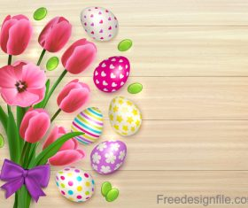 Easter flower with colored egg and wooden background vector