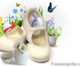 Easter greeting card with shoes vector