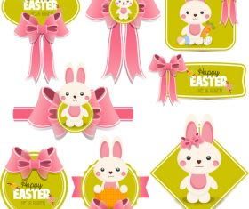 Easter labels with pink bows vector