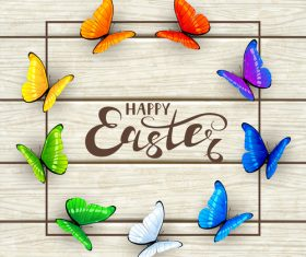 Easter lettering and butterflies on white wooden background vector