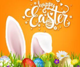 Easter orange card desgin vector