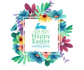 Easter party background with flower frame vector