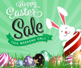 Easter sale design with cute rabbit vector