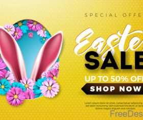 Easter sale up to 5 off design vector 02