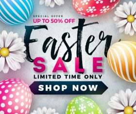 Easter sale with discount design vector 01