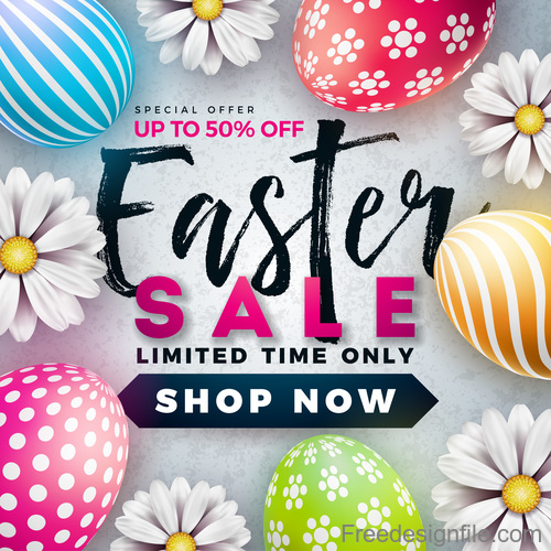 Easter Sale: Easter Sale With Discount Design Vector 01 Free Download